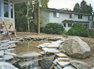 new pond head cascading water stairs yard