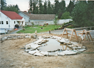 new pond pavers perimeter flagstone yard