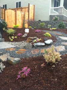 Canyon Pk design install bark path pavers easy maintenance removed grass
