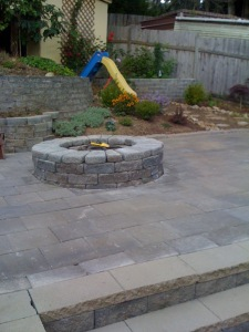 Clearview patio fire pit stairs concrete pavers tiered ret wall