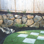 yard sod check paver path corner after with ret wall