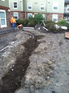 drainage trench installation bellingham condo complex improvement mackay landscape services