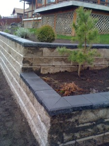 Residential Patio Project Creates Space to Appreciate Natural Surroundings tiered retaining wall