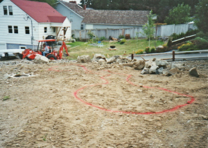 dirt yard area new pond placement