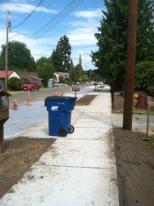 New topsoil in street curbs and home owner front lawns Monroe street improvement