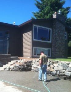 front entrance driveway rockery install upgrade replace landscape improvement